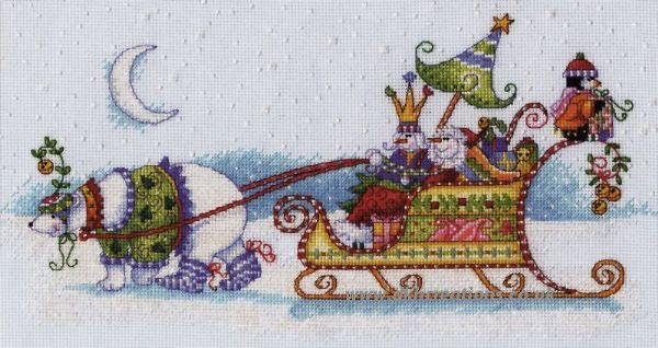 Snow Bear And Sleigh Cross Stitch Kit